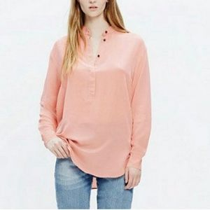 Madewell Silk Popover Blouse Blush Pink Size M